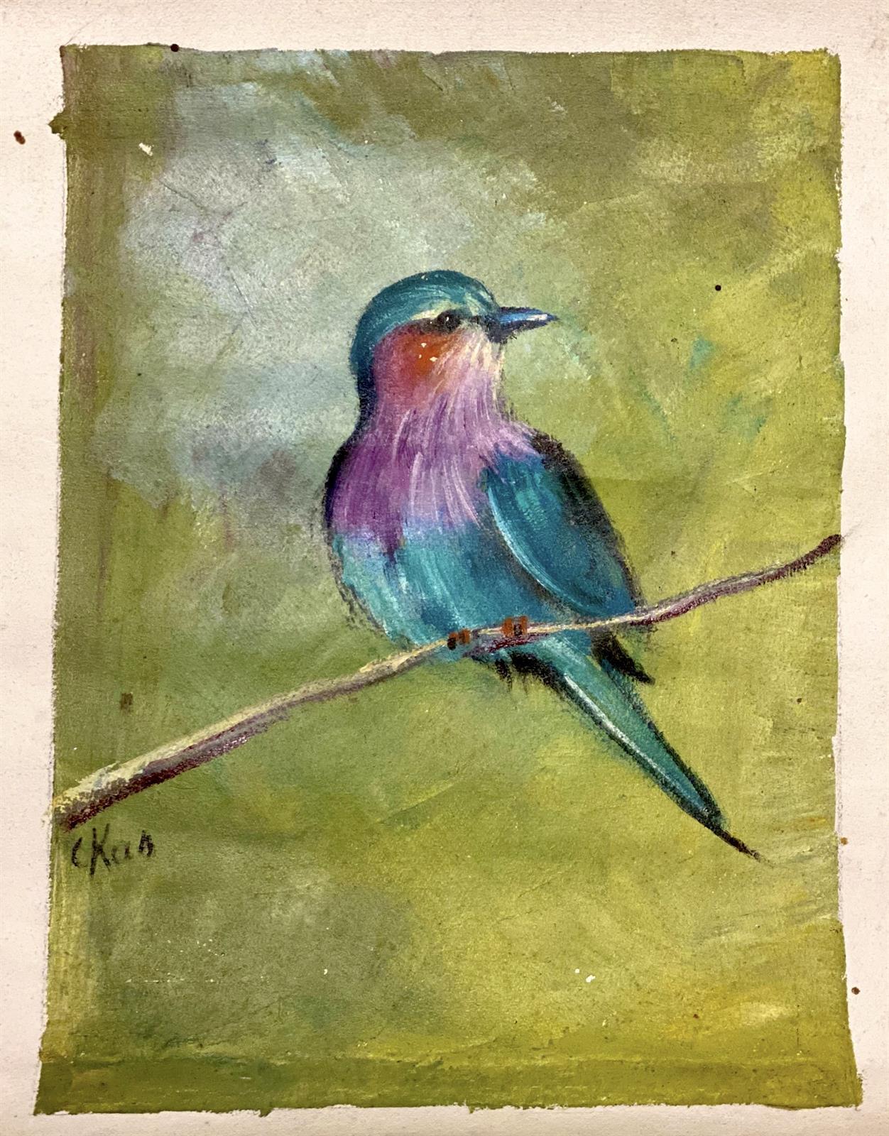 Maleri, afrikansk fugl på gren