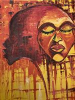 Maleri, afrikansk ansikt, detaljer