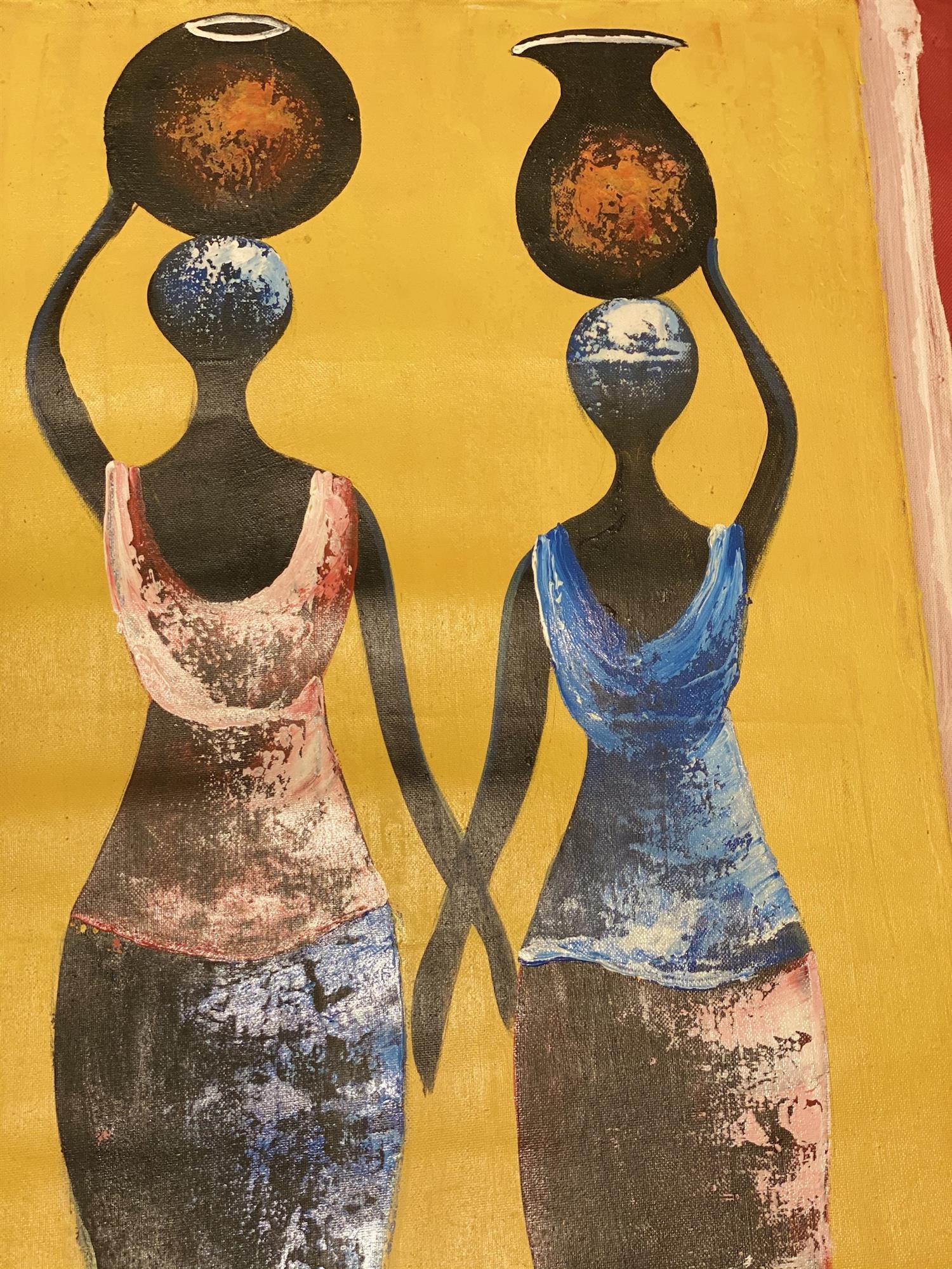 Maleri, 3 afrikanske kvinner som bærer krukker på hodet, detaljer