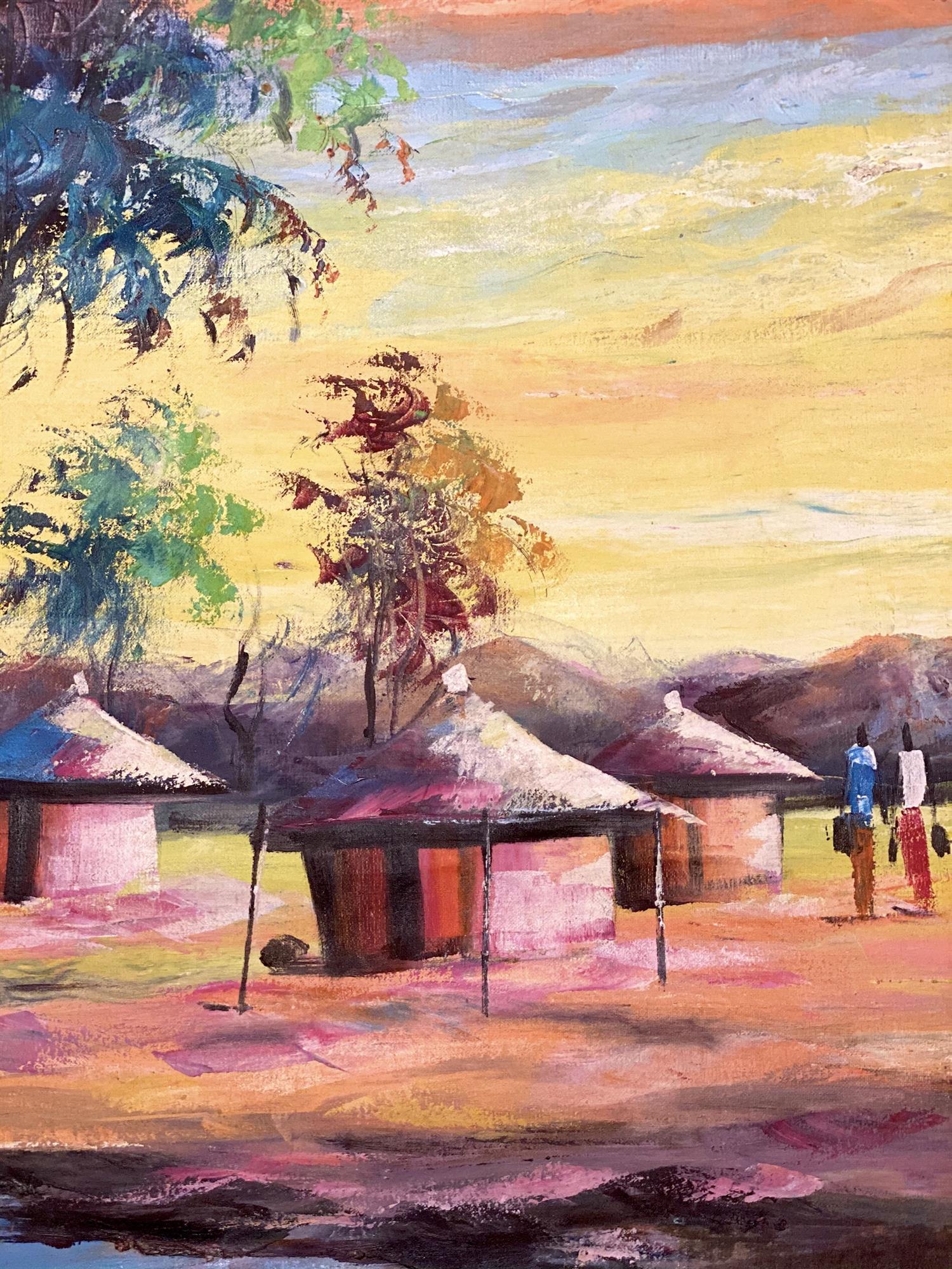 Maleri, afrikanske hytter, detaljer