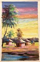 Maleri, afrikanske hytter