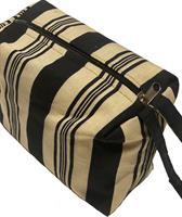 Toalettmappe, brun og hvit, striper, detaljer