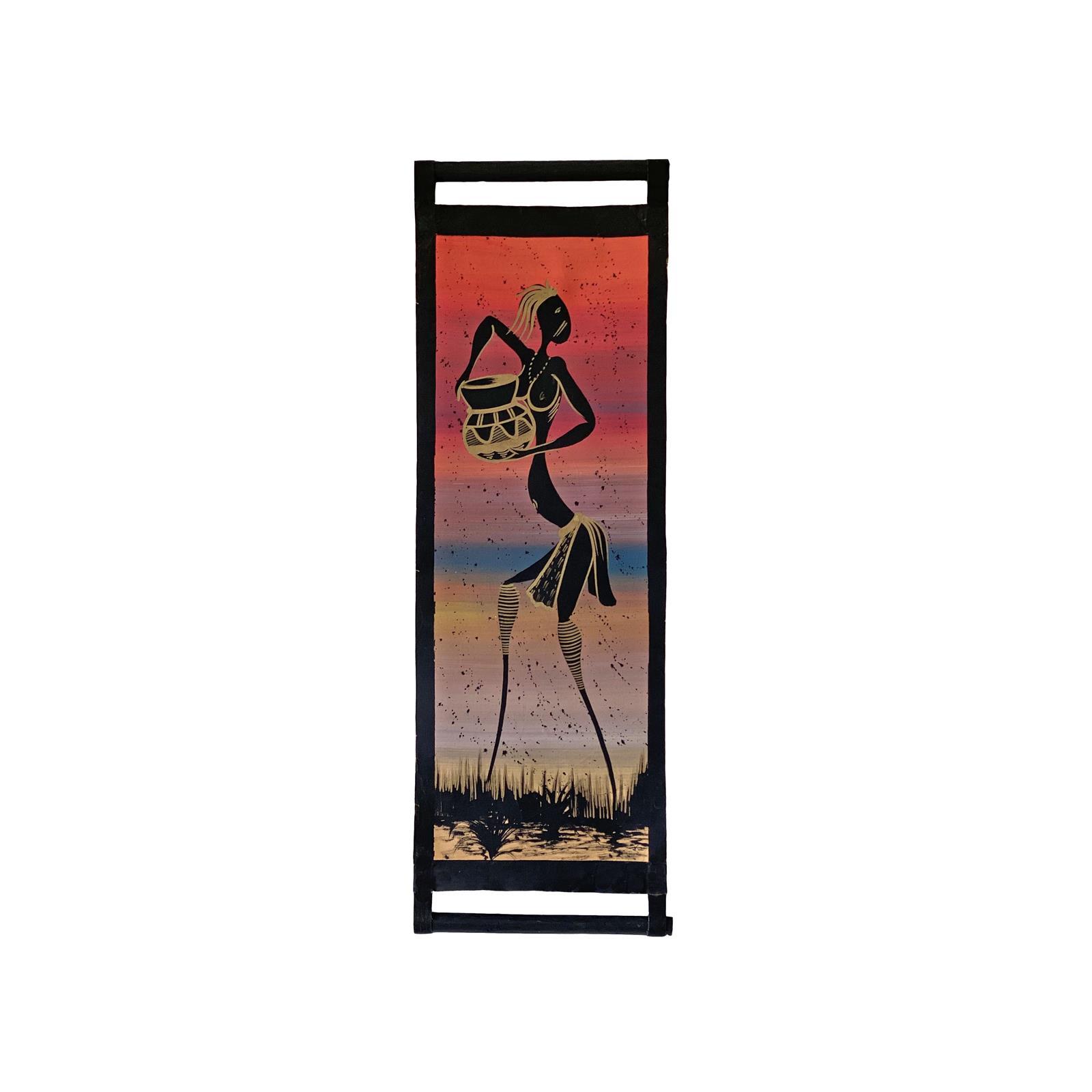 Fargerik afrikansk maleri på lerret